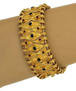 Estate Sapphire Ruby 18k Yellow Gold Wide Geometric Flex Link Bracelet