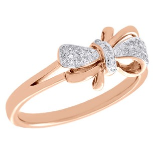 Other 10k Rose Gold Diamond Bow Ring Ladies Right Hand Statement Band 0.10 Ct.