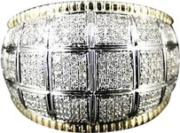 ,Men,10k,Two,Toned,Gold,Round,Cut,Pave,Diamond,Xl,Pinky,Fashion,Domed,Ring