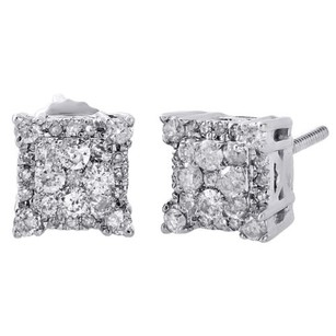10k White Gold Genuine Diamond Halo Cluster 4-prong Studs 7.25mm Earrings 12 Ct