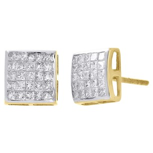 14k Yellow Gold Princess Cut Diamond 8.5mm Domed Square Stud Earrings 1 Ct.