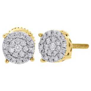 Other 10k Yellow Gold Diamond Round Studs Prong 6.35mm Cluster Earrings 0.25 Ct.