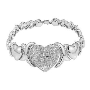 Heart Link Womens Bracelet Simulated Diamond 925 Silver Xoxo I Love You In