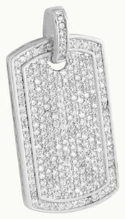 Dog Tag Pendant 14k White Gold Finish Lab Diamonds Iced Out Mens 1.5 Inch Sale