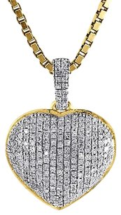Diamond Heart Pendant 14k Yellow Gold 34 Charm Necklace With Chain 0.37 Tcw.