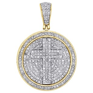 10k Yellow Gold Real Diamond Cross Cirlce Medallion Pendant Charm Pave 1.03 Ct.