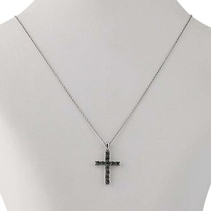 Blue Diamond Cross Pendant Necklace 18 - Sterling Silver .25ctw