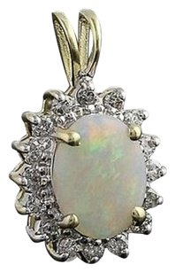 Opal Diamond Halo Pendant - 14k Yellow White Gold October Gift 1.34ctw