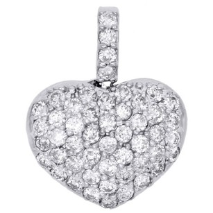 Other 14k White Gold Dome Puff Heart Genuine Diamond Pendant 0.70 Pave Charm 0.86 Ct.