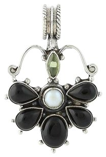 Onyx Peridot Freshwater Pearl Pendant - Sterling Silver Floral Design