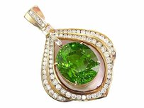 Other 18kt Huge Gem Peridot Diamond Yellow Gold Pendant 33.23ct