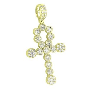Cluster Set Real Diamond Ankh Cross Pendant 14k Yellow Gold Carat High End