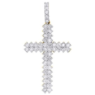 10k Yellow Gold Real Diamond Two Row Prong Set Cross Pendant 1.70 Charm Ct.