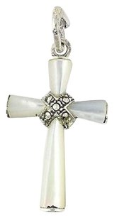 Other Cross Pendant - Sterling Silver Mother Of Pearl Marcasites White Mop