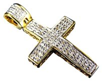 Genuine Diamond Micro Mini Cross Pendant Charm In Yellow Gold Finish 0.25ct 1