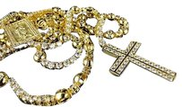 Mens Rosary Chain Simulated Diamond Necklace 348 Inch
