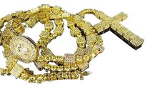 Mens Yellow Finish Simulated Diamond 3d Rosary Chain Necklace 348 Inch