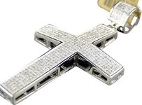 ,Mens,10k,White,Gold,2.25,Pave,Diamond,Cross,Pendant,Charm,2.0,Ct