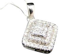 14k,White,Gold,Ladies,Princess,Cut,Diamond,Prong,Square,Pendant,Charm,.52,Ct