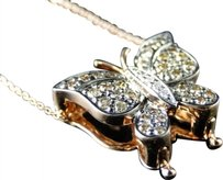 14k,Rose,Gold,Genuine,Real,Diamond,Butterfly,Pendant,And,Chain