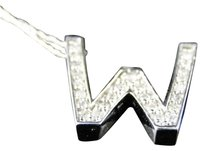 14k,White,Gold,Genuine,Real,Diamond,3d,Letter,W,Pendant,And,Chain