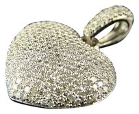 10k,White,Gold,Diamond,Puffed,Heart,Pendant,1.40,Ct