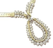 Fine Round Cut Diamond Herringbone Yellow Gold Necklace 2.66ct