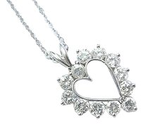 Fine Round Cut Diamond Heart Pendant White Gold Necklace 1.32ct 15