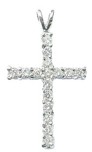 Fine,Round,Cut,Diamond,White,Gold,Cross,Pendant,.86ct,1.25