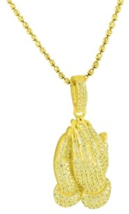 Other Mens Iced Out Yellow Gold Finish Lab Diamonds Praying Hands Pendant Bead Chain