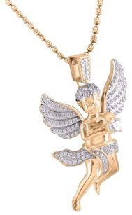 Other Rose Gold Sterling Silver Mens Angel Pendant High Quality Lab Diamond 14k Finish