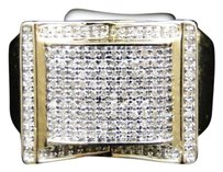 Mens,10k,Yellow,Gold,Round,Cut,Diamond,Pave,Set,Designer,Pinky,Band,Ring,.59,Ct