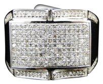 Mens,10k,White,Gold,Round,Cut,Diamond,Pave,Xl,Designer,Pinky,Band,Ring,.79,Ct