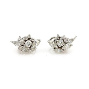 Other Estate 4ct Diamond Cluster 18k White Gold Post Clip Earrings