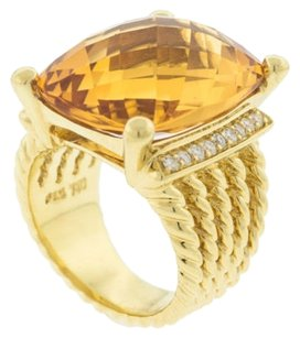 David,Yurman,Citrine,Jaune,Diamant,18k,Or,Femme,Bague