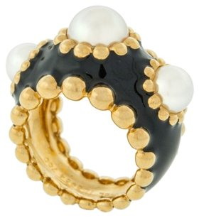 Chanel,Pearl,And,Enamel,18k,Yellow,Gold,Ladies,Designer,Ring