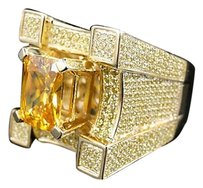 Other Mens Iced Out 3d Solitaire Castle Simulated Lab Diamond Pinky Ring