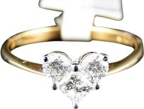 14k,Womens,Ladies,Yellow,Gold,Princess,Diamond,Promise,Love,Heart,Ring,0.52,Ct
