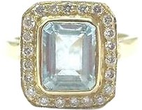 18kt,Gem,Aquamarine,Diamond,Solitaire,W,Accents,Yellow,Gold,Jewelry,Ring,3.72ct,