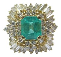 Other Fine Colombian Green Emerald Diamond 14kt Yellow Gold Jewelry Ring 5.20ct