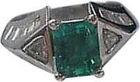 Platinum,Beryl,Emerald,Diamond,Anniversary,Jewelry,Ring,4.15ct