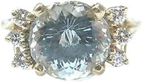Fine,Gem,Aquamarine,Diamond,Anniversary,Yellow,Gold,Ring,3.70ct