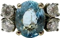 Other Fine,Aquamarine,Diamond,Anniversary,Solitaire,With,Accent,Jewelry,Ring,Yg,6.32ct