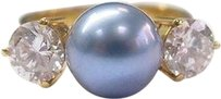 18kt,Blue,Pearl,Diamond,Anniversary,Jewelry,Ring,9mm,1.40ct