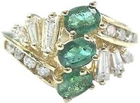 Other Fine,Gem,Green,Emerald,Diamond,Yellow,Gold,3-stone,Jewelry,Ring,.97ct