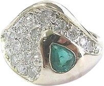 Other Fine,Gem,Green,Emerald,Diamond,Yellow,Gold,Jewelry,Ring,14kt,1.24ct