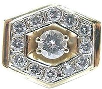 Other Fine Mens Round Cut Diamond Yellow Gold Jewelry Ring 14kt 1.02ct