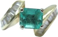 Fine,14kt,Gem,Colombian,Emerald,Diamond,Solitaire,With,Accents,Ring,2.71ct
