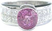 18kt,Gem,Pink,Sapphire,Diamond,White,Gold,Jewelry,Ring,3.50ct