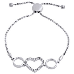 Genuine 120 Ct. Diamond Heart Bolo Bracelet In Sterling Silver Wheat Chain 8